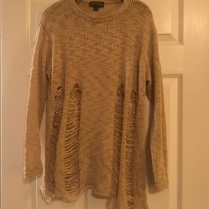 Forever 21 Tan distressed sweater